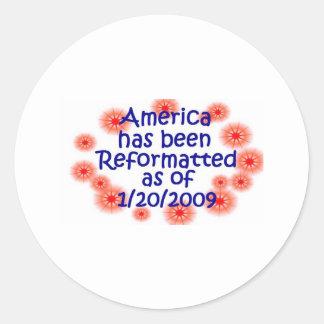 América cambió formato a partir de 1/20/2009 pegatina redonda