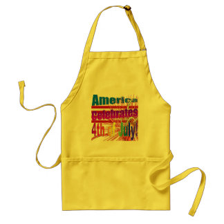 America Celebrates Flag Fireworks 4th of July Adult Apron