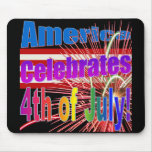 America Celebrates Flag Fireworks 4th of July Mouse Mat