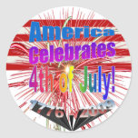 America Celebrates Flag Fireworks 4th of July Round Sticker