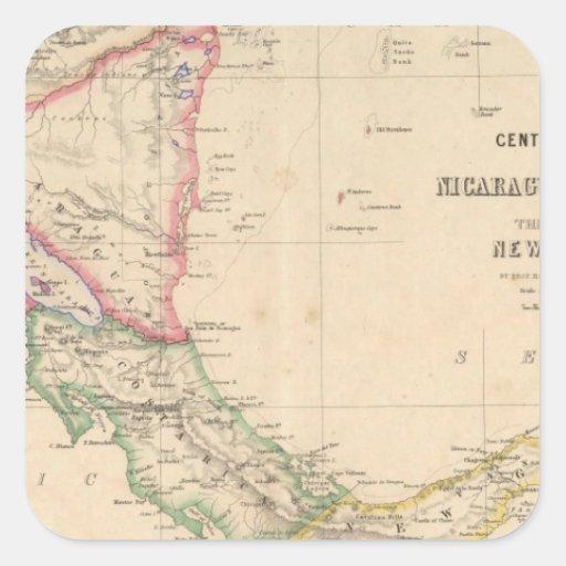 America Central 9 Pegatina Cuadrada