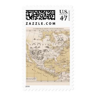 América, cerca de 1670 timbre postal