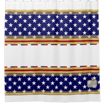 USA Themed America Colors Stars White Shower Curtain
