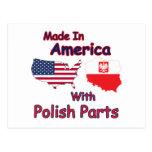 América con las piezas polacas postales