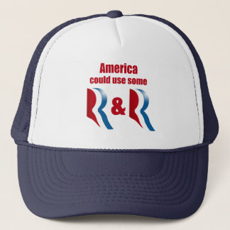 AMERICA COULD USE SOME R AND R -.png Trucker Hat