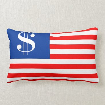 USA Themed america country dollar symbol flag united states u lumbar pillow