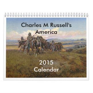 América de Charles M Russell Calendario De Pared