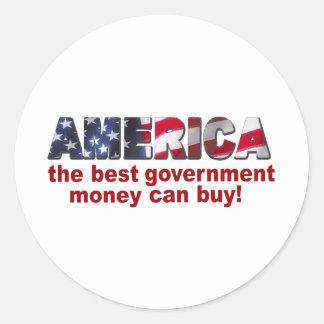 América - el mejor dinero del gobierno puede pegatina redonda