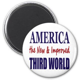 América el TERCER MUNDO nuevo y mejorado Imán Redondo 5 Cm