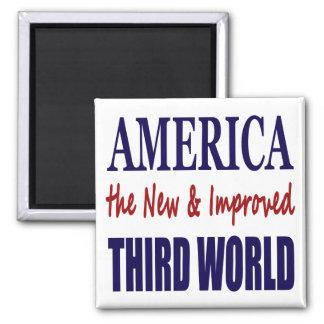 América el TERCER MUNDO nuevo y mejorado Imán Cuadrado
