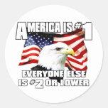 América es el número 1 pegatinas redondas