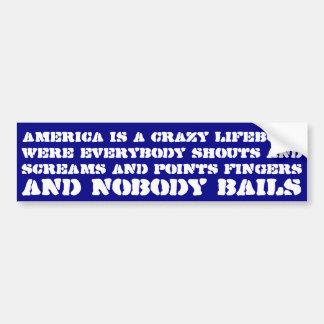 América es un bote salvavidas loco era todos grita pegatina para auto
