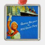 América este año por RMS Queen Mary Adorno Navideño Cuadrado De Metal