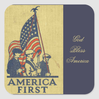 America First Patriots American Flag Vintage Text Square Sticker