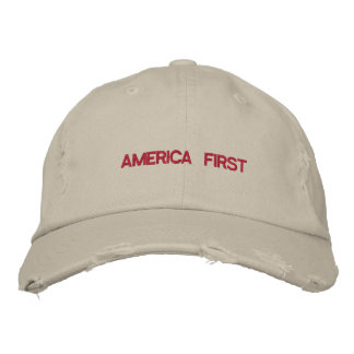 America First Quote Trump Typography Patriotic USA Embroidered Baseball Hat