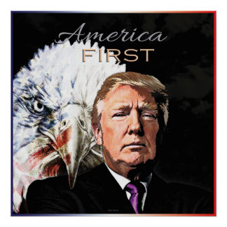 AMERICA FIRST SLOGAN EAGLE TWO POSTER