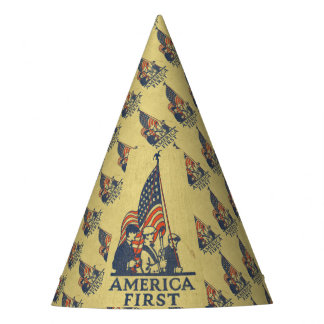 America First Typography Vintage US Flag American Party Hat