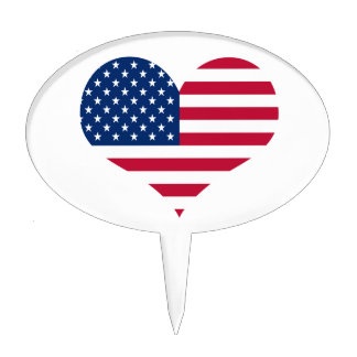America flag American USA heart Cake Topper