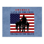 America Flag and Soldiers Silhouette Postcard