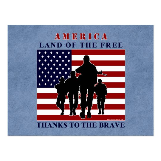 America Flag and Soldiers Silhouette Postcard | Zazzle.com