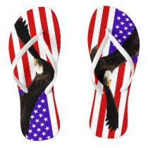 America flag Bald Eagle USA Flip Flops