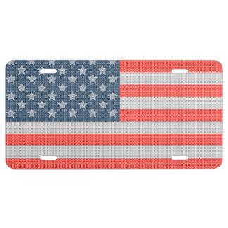 America Flag Diamonds And Glitter Texture License Plate