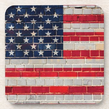 America flag on a brick wall beverage coaster