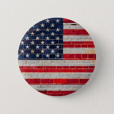 America flag on a brick wall button