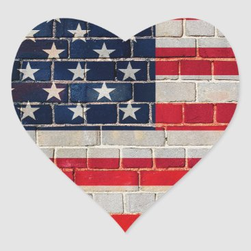 America flag on a brick wall heart sticker