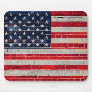 America flag on a brick wall mouse pad
