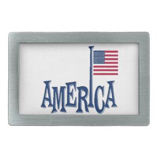 America Flag Pole Design Belt Buckle