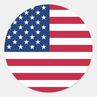 America Flag Round Stickers