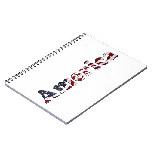 America Flag Text Design Spiral Notebook
