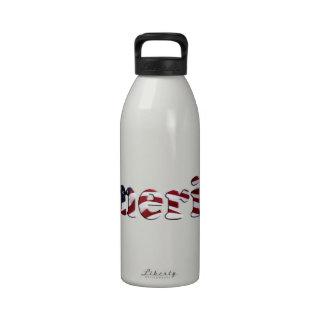 America Flag Text Design Reusable Water Bottle