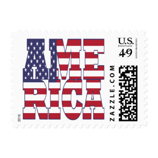 America flag text postage