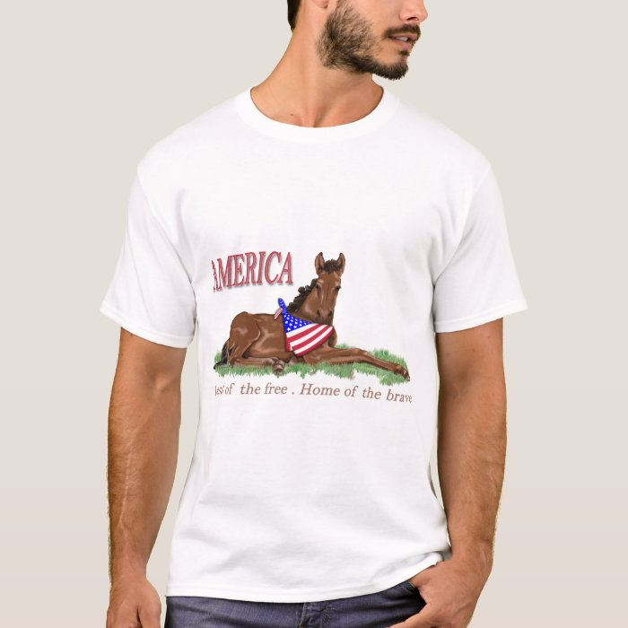 America Free and Brave Colt with Flag Bandana T-Shirt