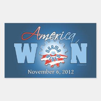 América ganó el 6 de noviembre de 2012 pegatina rectangular