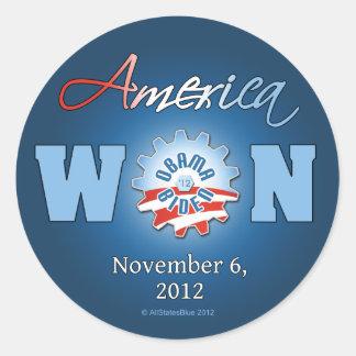 América ganó el 6 de noviembre de 2012 pegatina redonda