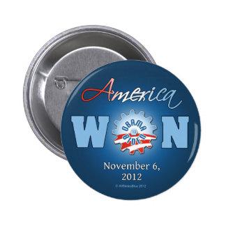 América ganó el 6 de noviembre de 2012 pin redondo de 2 pulgadas