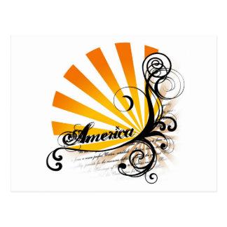 América gráfica floral soleada postal