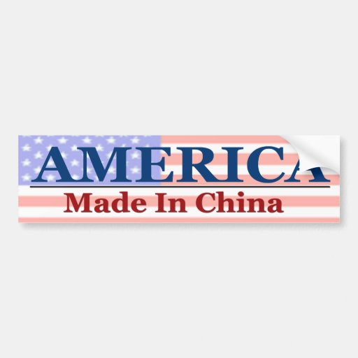América - hecha en China Etiqueta De Parachoque