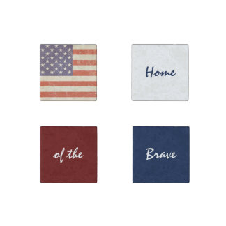 America Home of the Brave Stone Magnet