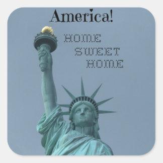 America!  Home Sweet Home Square Sticker