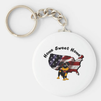 America: Home Sweet Home - USA Silhouette Basic Round Button Keychain