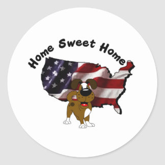 America: Home Sweet Home - USA Silhouette Round Stickers