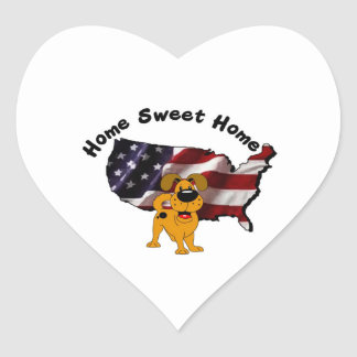 America: Home Sweet Home - USA Silhouette Heart Stickers