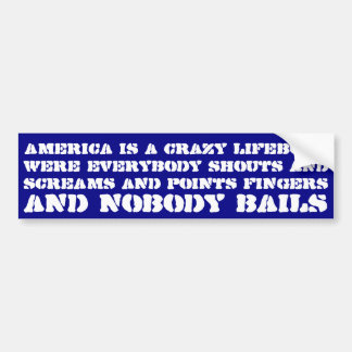 America is a crazy lifeboat were everybody shouts car bumper sticker