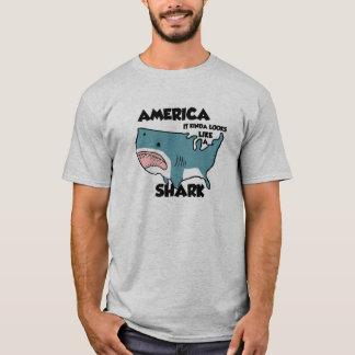 America is a Shark  T-Shirt, Grey T-Shirt