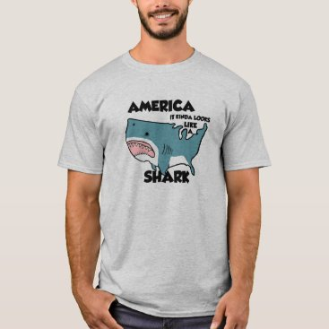 USA Themed America is a Shark  T-Shirt, Grey T-Shirt