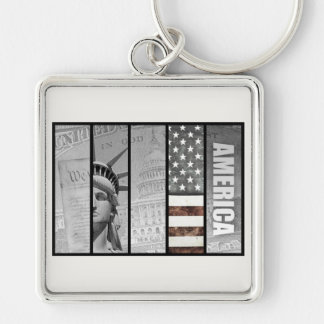 America Is Exceptional Silver-Colored Square Keychain
